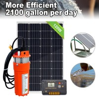 Solar Water Pump Kit-12V DC Submersible Water Pump with120W Solar Panel Controller for Deep Well Pond Farm Ranch