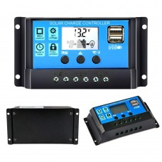 30A/20A/10A 12V 24V Auto Solar Charge Controller PWM With LCD Dual USB 5V Output Solar Cell Panel Regulator PV Home
