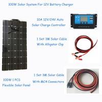 100W Solar Cell DIY Solar System RV/Boat Kits flexible panel 100W flexible solar panel 1*10A solar controller 1 set 3M MC4 cable