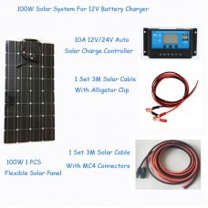 100W Solar Cell DIY Solar System RV/Boat Kits flexible panel 100W flexible solar panel 1*10A solar controller 1 set 3M MC4 cable