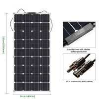 100W 18V 12V Bendable Flexible Solar Panel Charger Lightweight SunPower Solar Charger with MC4 for RV, Boat, Cabin, Tent, Car, Truck