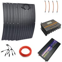 5pcs ETFE 100W Flexible Solar Panels Modules With 3000w Pure Sine Inverter 60A Controller Solar Power System For Beginner
