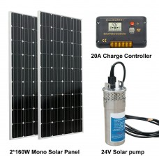 320W Solar Panel& DC 24V Deep Well Stainless Water Pump& 20A controller Home Ranch Irrigation solar power pump system