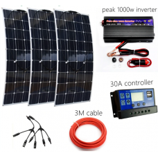 300W Solar System Kit for Beginner Flexible Solar Panel with 30A Controller and 1000W Inverter For 12V Solar Charger